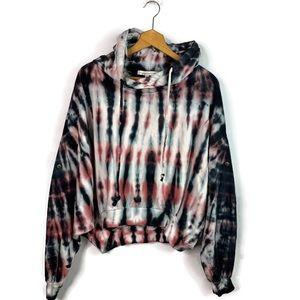 Young Fabulous & Broke Black Tie Dye Hood Sweater